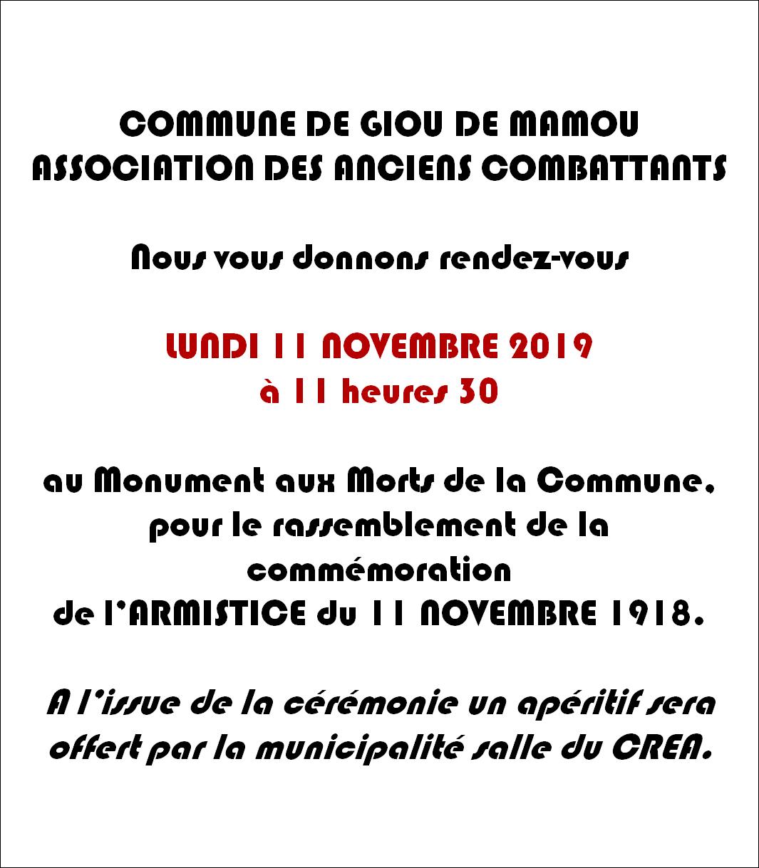Commémoration 2019